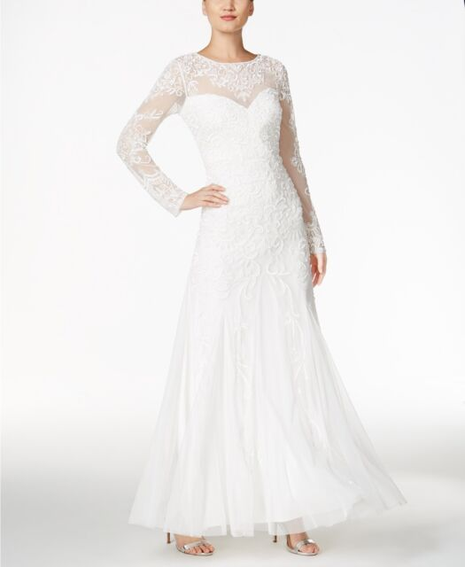 Adrianna Papell Womens Love Story Ivory Beaded Wedding Dress Gown