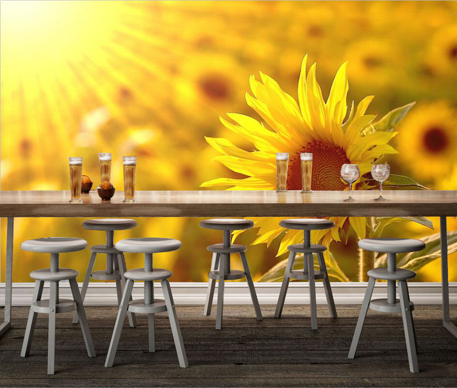 3D Golden Bright Sunflower 928 Wall Paper Wall Print Decal Wall Deco Indoor Wall