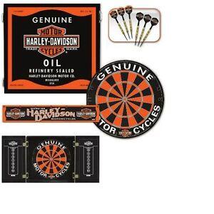Wonderful Image Is Loading Harley Davidson Oil Can Dart Board Cabinet Set