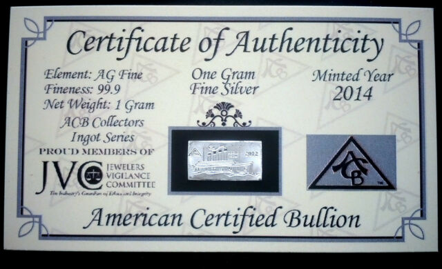 x10 ACB SILVER Ingot 1 Gram Bars 99.9 Fine AG w//Certificate of Authenticity/'s