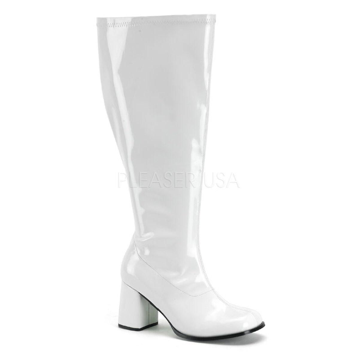 WIDE WIDTH WIDE CALF Women's Retro 70s White Gogo Retro Costume Boots GOGO300X W