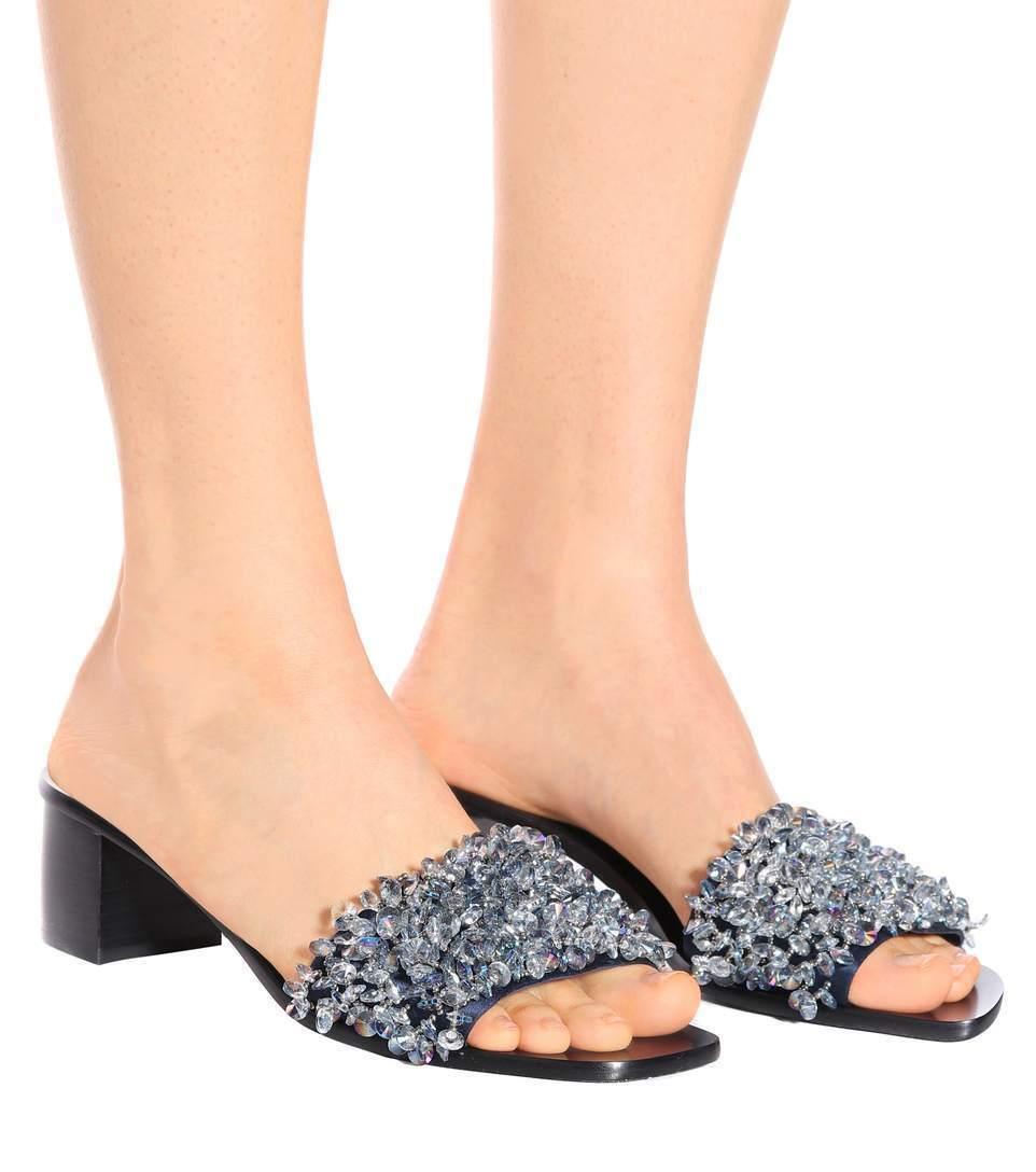 $348 New Tory Burch LOGAN 45 SLIDE Sandals schuhes Satin Beaded Grau Navy schuhes Sandals 8 9 9.5 e820c1