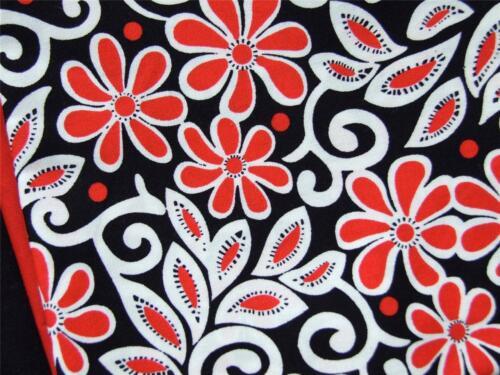 Black red white floral abstrait 100/% popeline de coton matériau Craft Bunting robe