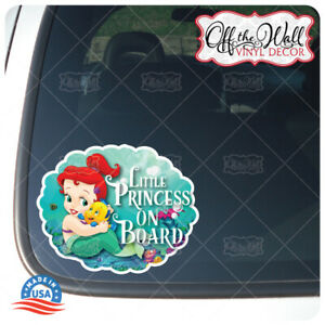 Baby-Ariel-034-LITTLE-PRINCESS-ON-BOARD-034-Awareness-Warning-Sign-Vinyl-Sticker