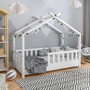 Lettini Per Bambini.Dettagli Su Letto Lettino Per Bambini In Legno Massello 70x140 Con Doghe Forma A Casetta