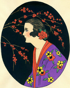 1930s-French-Pochoir-Print-Art-Deco-Asian-Motifs-Geisha-Cherry-Blossom-Kimono