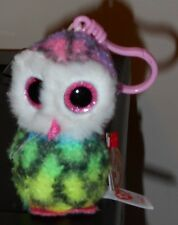 Ty Beanie Boos ~ OWEN the Tie Dyed Owl Key Clip Size ~2017 NEW w/ Tags -IN HAND