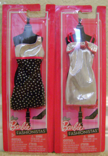 BARBIE FASHIONISTAS FASHION CLOTHES SHIMMERY SILVER LOT OF 2 NEW