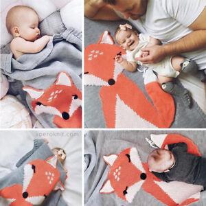 UK Stock Fox Cute Knitting Kid Baby Blanket Wrap Cot Bed Mosses Pram Basket Soft