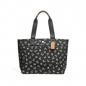 NEW WOMENS COACH (F25903) LARGE BLACK FLORAL PRINT CANVAS TOTE BAG ... 156ef9c05a00a