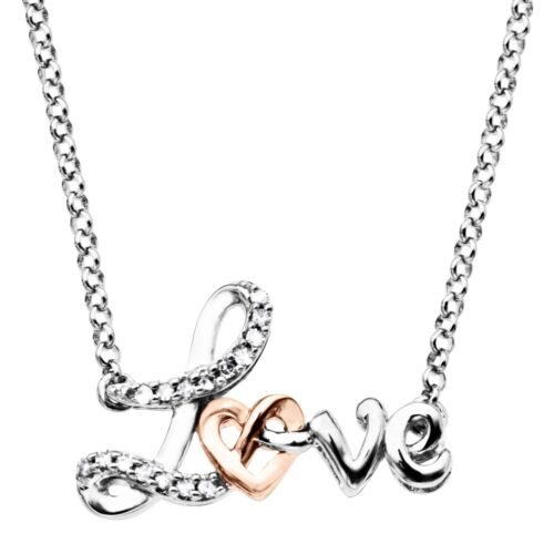 /'Love/' Knot Necklace with Diamonds in Sterling Silver /& 10K Rose Gold