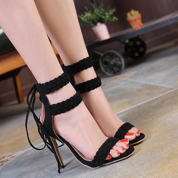 Sandali stiletto eleganti tacco 12 cm negro lacci pelle sintetica eleganti 1157