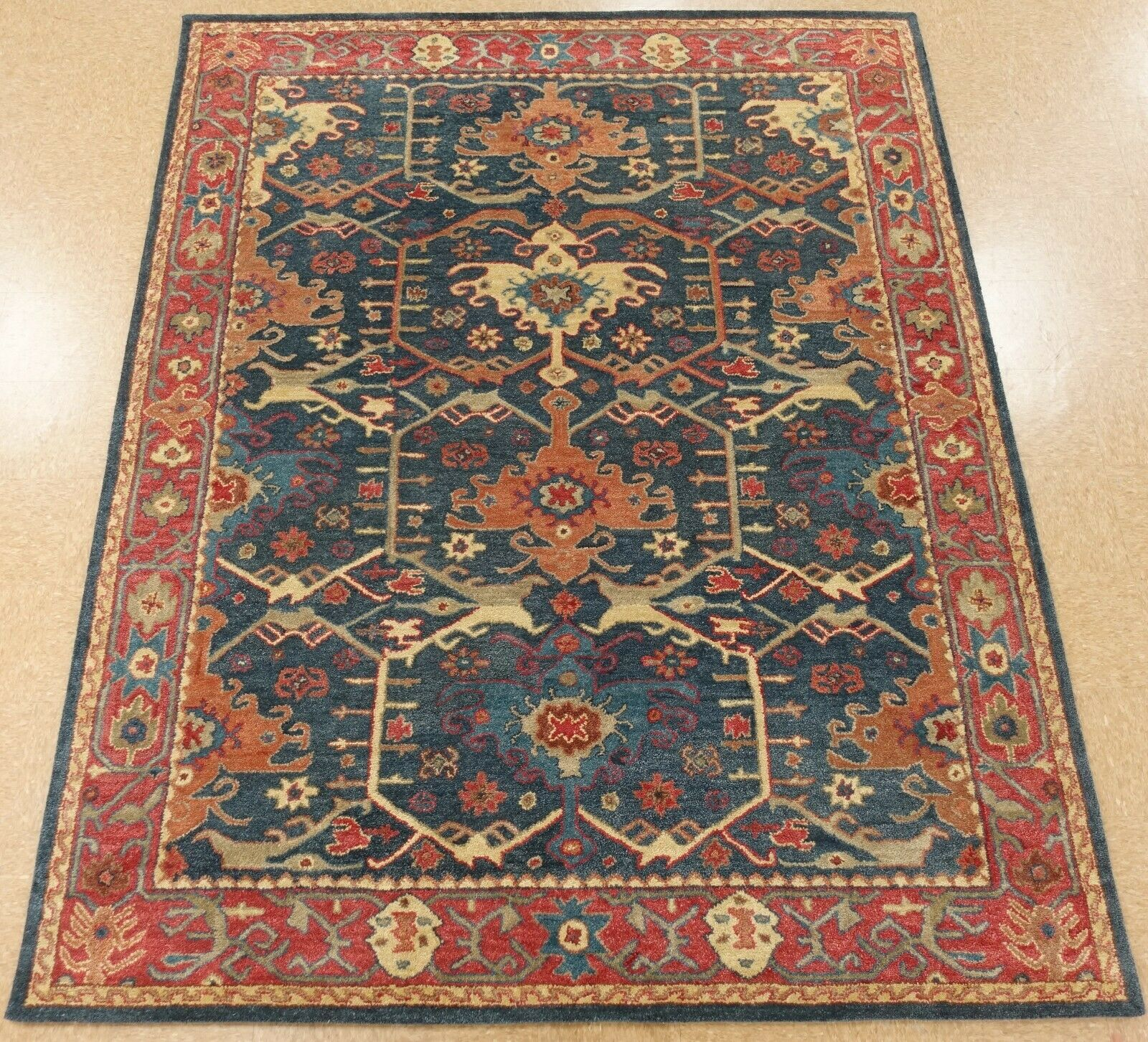9 X 12 Pottery Barn Channing Indigo Rug New Hand Tufted Wool Carpet