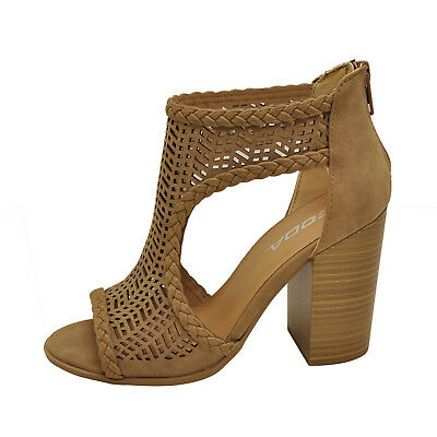 2b2bcb9bdee Soda RAVEL Light Taupe Women s Cut Out Perforated Chunky Heel Sandals