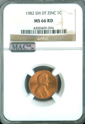 1982 SM DT LINCOLN CENT ZINC NGC MAC MS66 RED PQ SPOTLESS RARE *