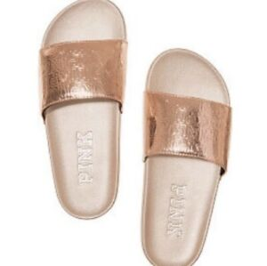 Victorias Secret Pink Gold Single Strap Slides Slippers Logo