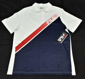 Fila-Mens-Venture-Polo-shirt-white-blue-Polyester