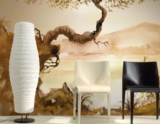 3D Alte Bäume und Berge  Fototapeten Wandbild Fototapete BildTapete FamilieDE