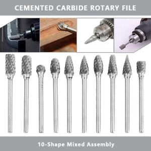 10-Stueck-Set-Fraesstift-Wolframcarabid-Hartmetallfraeser-Schaftfraeser-Fraeser-3mm