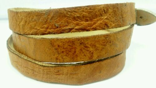OSTRICH HATBAND TAN Genuine SMOOTH Exotic Skin with Buckle Set Western Hat Band
