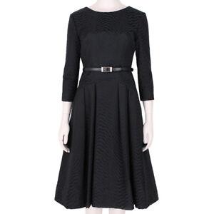 Jason-Wu-Elegant-Black-Swirl-Jacquard-Belted-Waist-Dress-US4-UK8