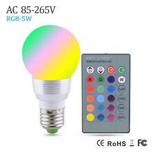 E27 RGB Lampada LED Bulb E27 85-265V RGB LED LampSpotlight Lamparas 5W