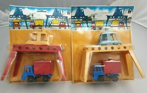 2x-vintage-jean-Hofler-camiones-basurillas-puerto-contenedor-de-grua-camiones-W-Germany