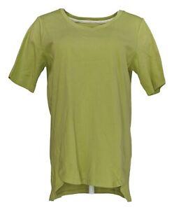 Isaac Mizrahi Live! Women's Top Sz M Pima Cotton V-Neck Tulip Hem Green A379612