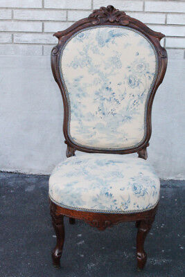 Lovely American Victorian Rococo Solid Rosewood Bedroom Chair New Upholstery Beneficial To Essential Medulla 1800-1899 Chairs