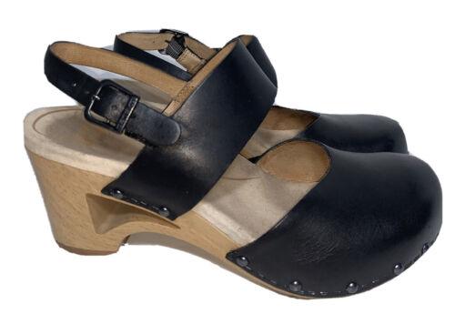 Dansko Taci Size 7 38 Black Leather Slingback Clog