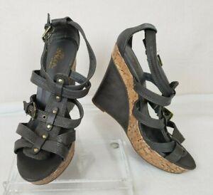 SBicca-Womens-Sandals-Wedge-Gray-Karen-Cork-Size-7M-Strappy-High-Heel