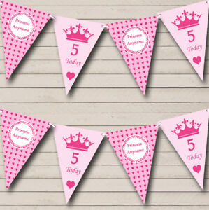 PARTY STRISCIONE BANDIERINE Cuori Rosa Principessa Ragazze Personalizzato Compleanno per Bambini  </span>