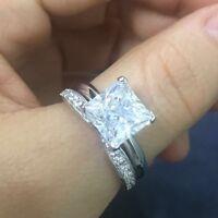 4ct Princess Cut Diamond Engagement Ring Wedding Bridal Set Sterling Silver 14k