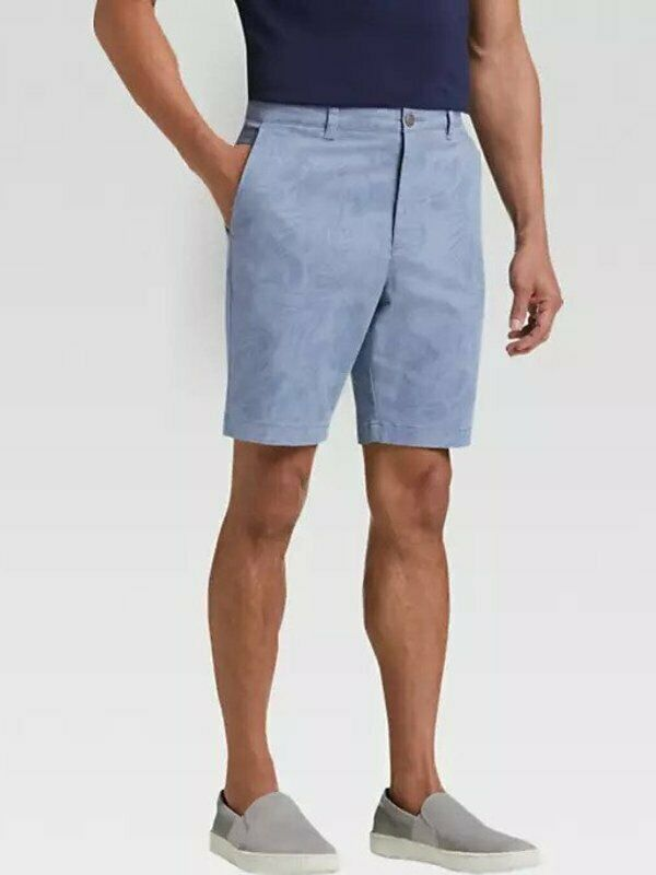 6761df28d2ccf1 NWT - JOSEPH MODERN FIT FLAT FRONT bluee PRINTED SHORTS - 40 Men s ...