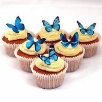 Cakeshop PRECUT 12 Light Blue Edible Butterfly Cake Cupcake Toppers Decorations
