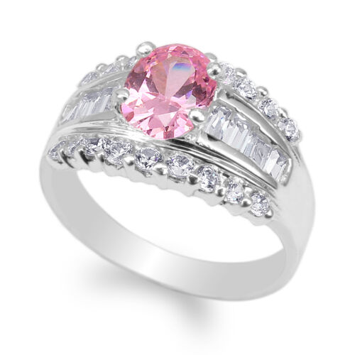 JamesJenny Ladies White Gold Plated 1.25ct Pink Oval CZ Fashion Ring Size 4-9