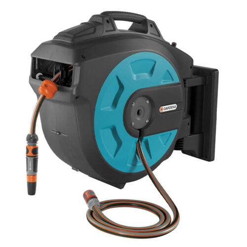 Gardena Wall Mounted 115 Foot Retractable Hose Box with Guide and Nozzle Hangers