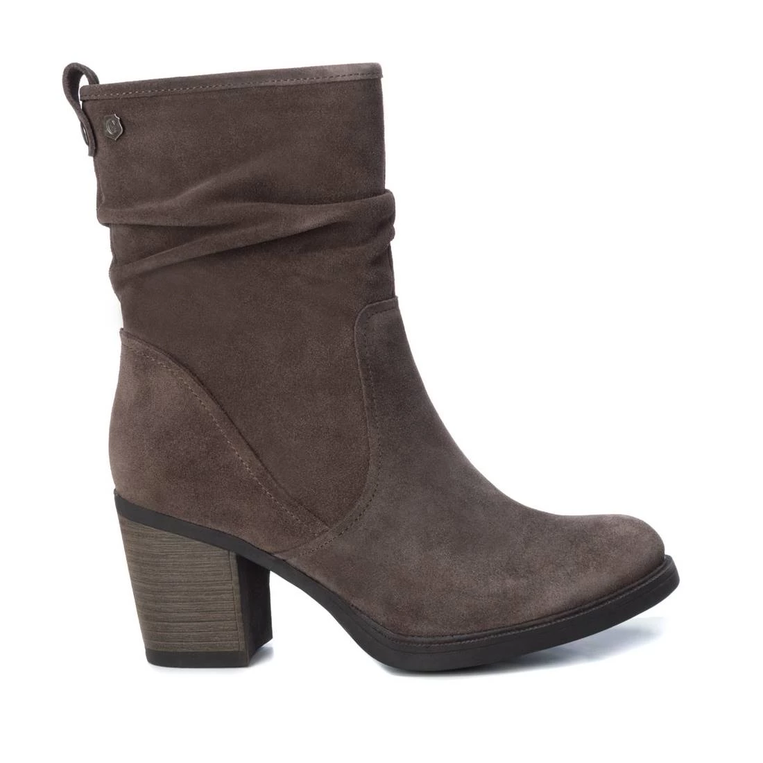 Carmela 67080 Taupe Suede Mid Calf Heeled Stiefel