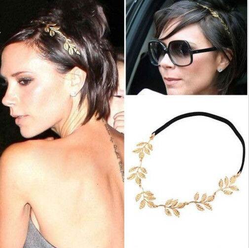 Chic Design Lovely Metallic Lady Hollow leaf Flower Elastic Hair Band Headband