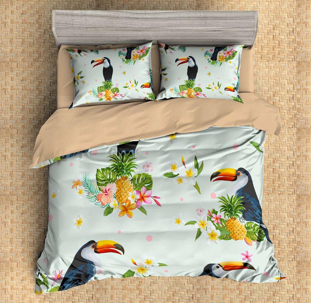 Bird Stands Next Pineapple 3D Digital Print Bedding Duvet Quilt Cover Pillowcase