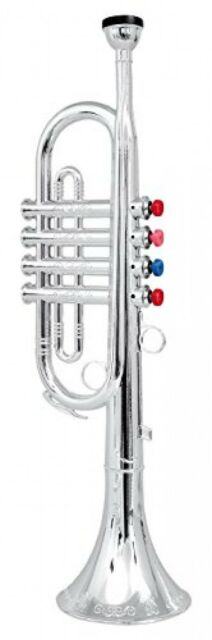 Click n' Play Metallic Silver Kids Trumpet Horn Wind Instrument with 4 Colored