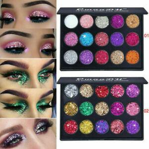 15-Colores-Brillo-Polvo-de-sombra-de-ojos-y-Brillo-Maquillaje-Cosmetico-Sombra-de-Ojos-Paleta