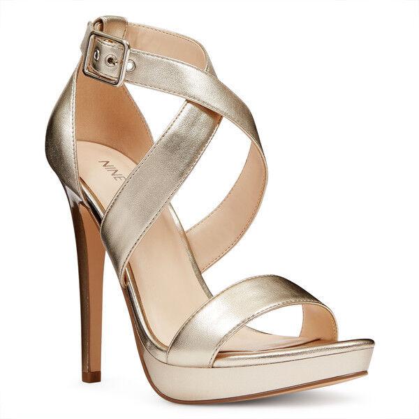 Nine West Eyesonyou Open Toe Sandals Größe 9 9 9 Gold Formal Sky-High Stiletto Heels 14b735