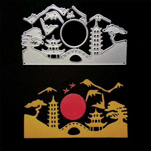 Rising Sun Landscape Metal Cutting Dies for DIY Scrapbook Album Cards Mak XJ