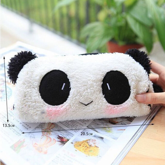 Kawaii Womens Panda Plush Pencil Pen Pocket Makeup