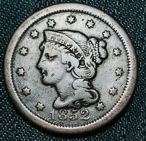 1852 Large Cent Matron Braided Hair 1C High Grade Good Date Early US Coin CC4596