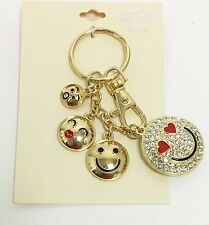 GOLD TONE,CRYSTAL,FUNNY FACE,EMOJI,RED LIPS,HEART CHARM KEY CHAIN,FOB,BAG CHARM