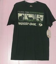 """Men's SZ L Green Short Sleeve Mossy Oak """"I live for Opening Day T-Shirt"""" Hunting"""