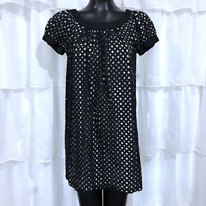 Size 6 Womans MAGGY LONDON Black And White Puff Short Sleeve Dress
