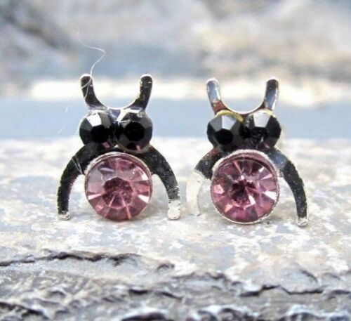 süße ohrringe ohrstecker paar 925 silber bienen rosa kristalle
